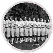 Women's Baseball Team Round Beach Towel