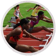 Womens Hurdles 3 Round Beach Towel