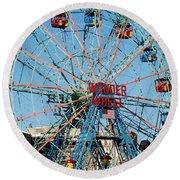 Wonder Wheel Of Coney Island Round Beach Towel