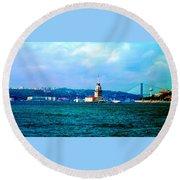 Wonders Of Istanbul Round Beach Towel