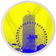 Wonderwheel In Blue And Yellow Round Beach Towel