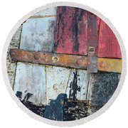 Wood And Metal Abstract Round Beach Towel by Jill Battaglia