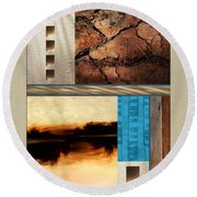 Wood And Stone Rectangular Textures Round Beach Towel