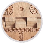 Wood Carving Round Beach Towel