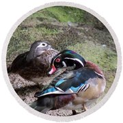 Wood Duck Couples Round Beach Towel