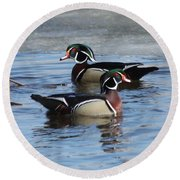 Wood Duck Drake Pair Round Beach Towel