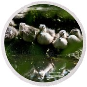 Wood Ducklings On A Log Round Beach Towel