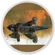 Wood Ducks Round Beach Towel