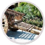 Wood Hand Cart II Round Beach Towel