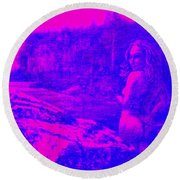 Wood Nymph In Pink And Blue Round Beach Towel