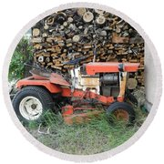 Wood Pile And Lawn Tractor Round Beach Towel
