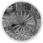 Wood Spoke Wheel Round Beach Towel