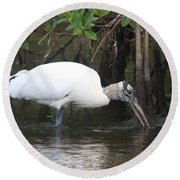 Wood Stork In The Swamp Round Beach Towel