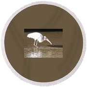 Wood Stork Round Beach Towel