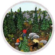 Woodcutters And Black Lab Round Beach Towel