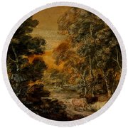 Wooded Landscape With Herdsman And Cattle Round Beach Towel