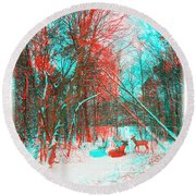 Wooded Path - Use Red And Cyan Filtered 3d Glasses Round Beach Towel