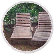 Wooden Beach Chairs Round Beach Towel