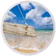 Wooden Beach Sign Algarve Portugal Round Beach Towel by Amanda Elwell