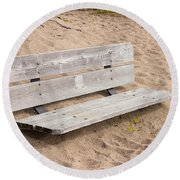 Wooden Bench Burried In The Sand Round Beach Towel