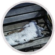 Wooden Bench With Snow 1 Round Beach Towel