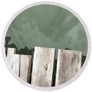 Wooden Board Against Sea Surface Round Beach Towel