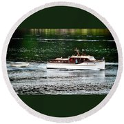 Wooden Boat With Skiff Round Beach Towel
