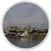 Wooden Boats Shikaras And Houseboats In The Dal Lake In Srinagar Round Beach Towel