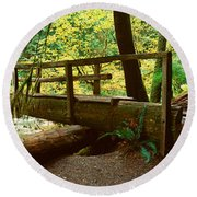Wooden Bridge In The Hoh Rainforest Round Beach Towel