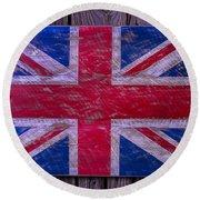 Wooden British Flag Round Beach Towel