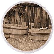Wooden Buckets Round Beach Towel