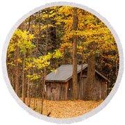 Wooden Cabin In Autumn Round Beach Towel