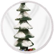 Wooden Christmas Tree With Gifts Round Beach Towel