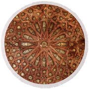 Wooden Coffered Ceiling In The Alhambra Round Beach Towel