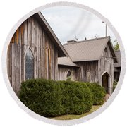 Wooden Country Church Round Beach Towel