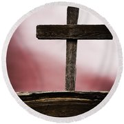 Wooden Cross Round Beach Towel