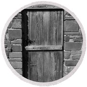 Wooden Door And Stone Wall 1 Round Beach Towel