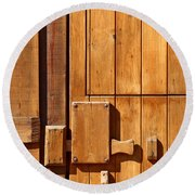 Wooden Door Detail Round Beach Towel by Carlos Caetano