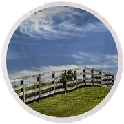 Wooden Farm Fence On Crest Of A Hill Round Beach Towel