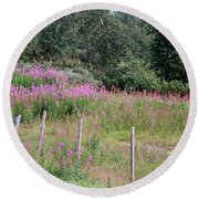 Wooden Fence And Pink Fireweed In Norway Round Beach Towel