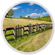 Wooden Fence In Green Landscape Round Beach Towel