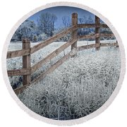 Wooden Fence Of A Friesian Horse Pasture On Windmill Island Round Beach Towel