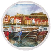 Wooden Fishing Boats In The Whitby Fleet Of Northern England Round Beach Towel