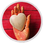 Wooden Hand With White Heart Round Beach Towel