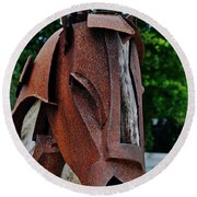 Wooden Horse13 Round Beach Towel