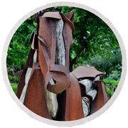 Wooden Horse16 Round Beach Towel