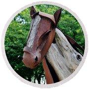 Wooden Horse20 Round Beach Towel