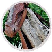 Wooden Horse21 Round Beach Towel