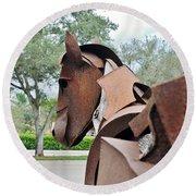 Wooden Horse26 Round Beach Towel