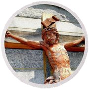 Wooden Jesus Round Beach Towel
